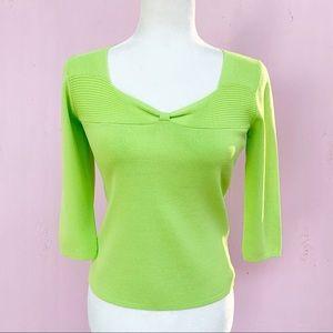 Vintage 90s Pistachio Green 3/4 Sleeve Knit Top S